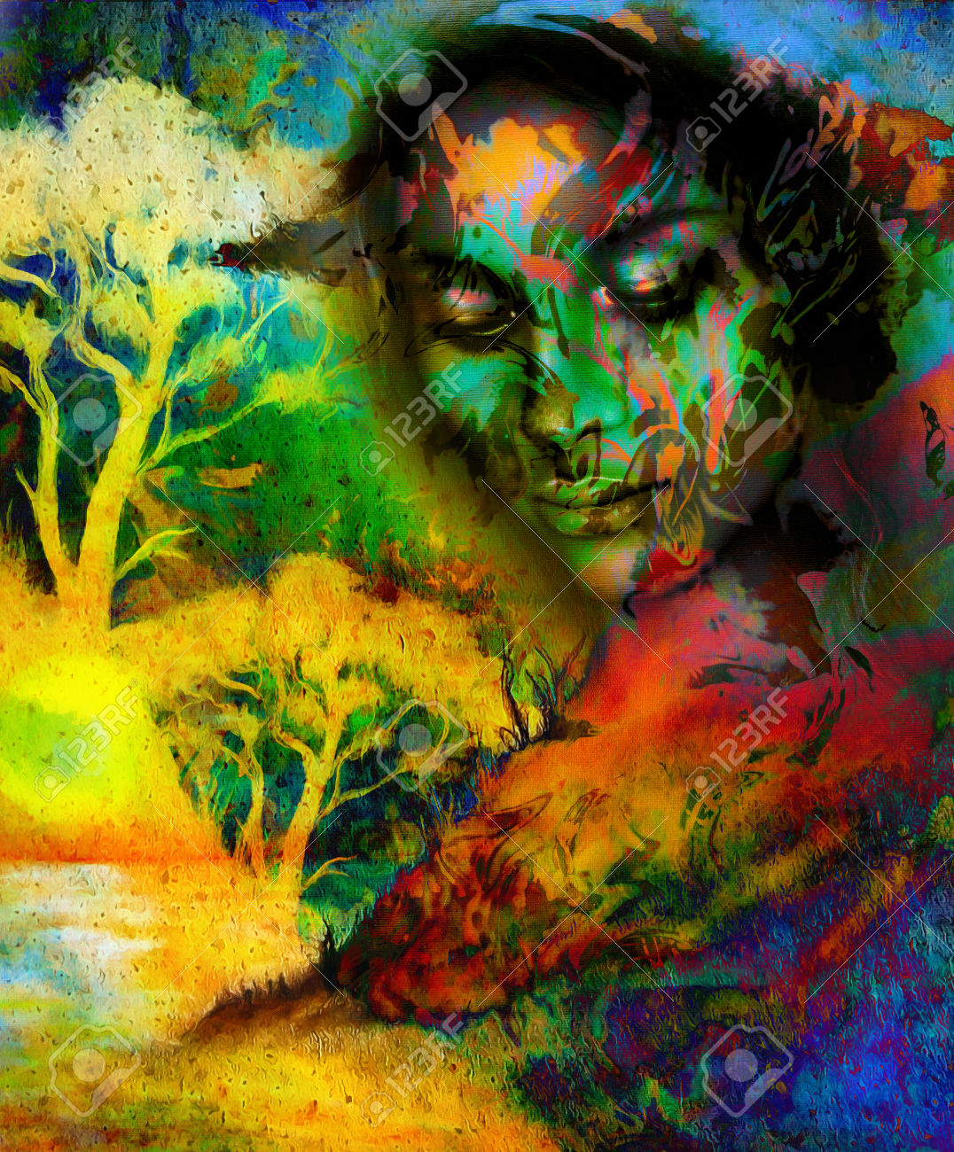 Woman Tree Psychedelic Background