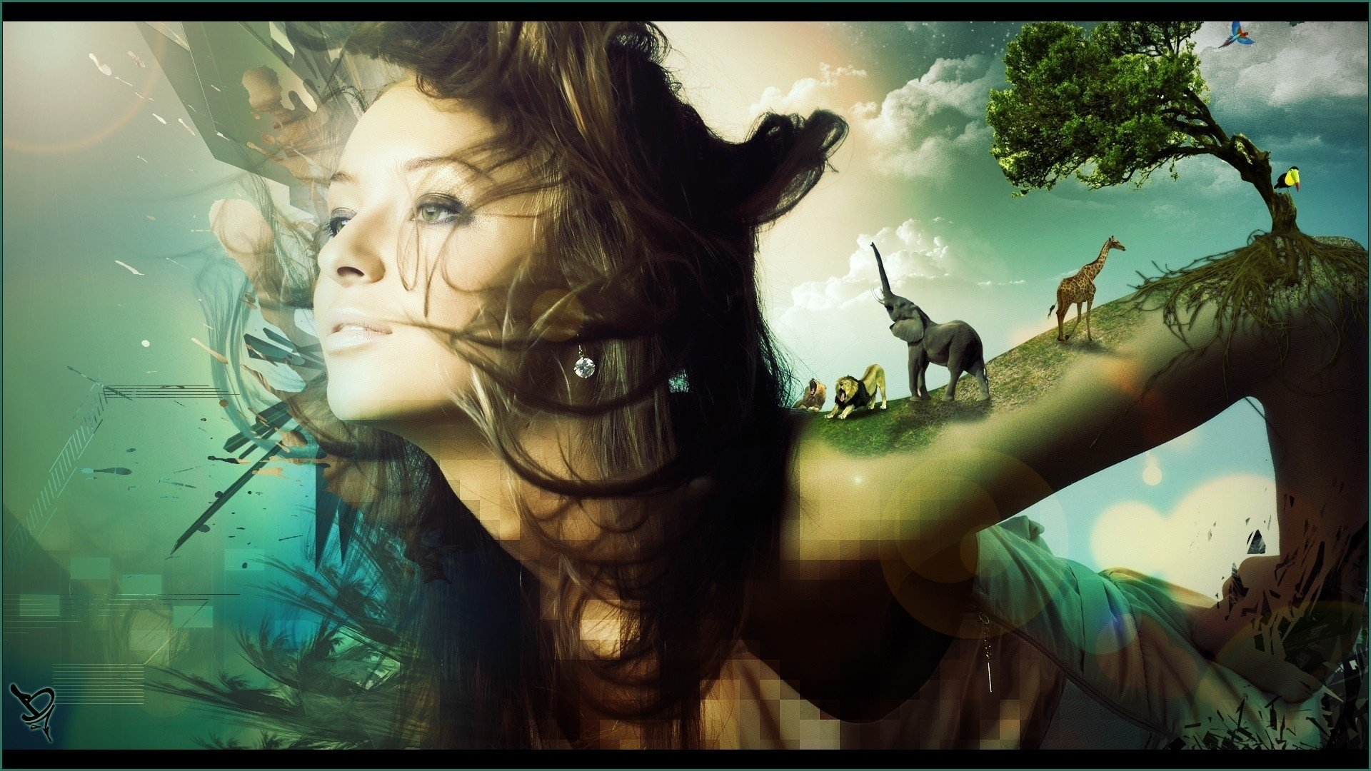Woman Tree Psychedelic Wallpaper