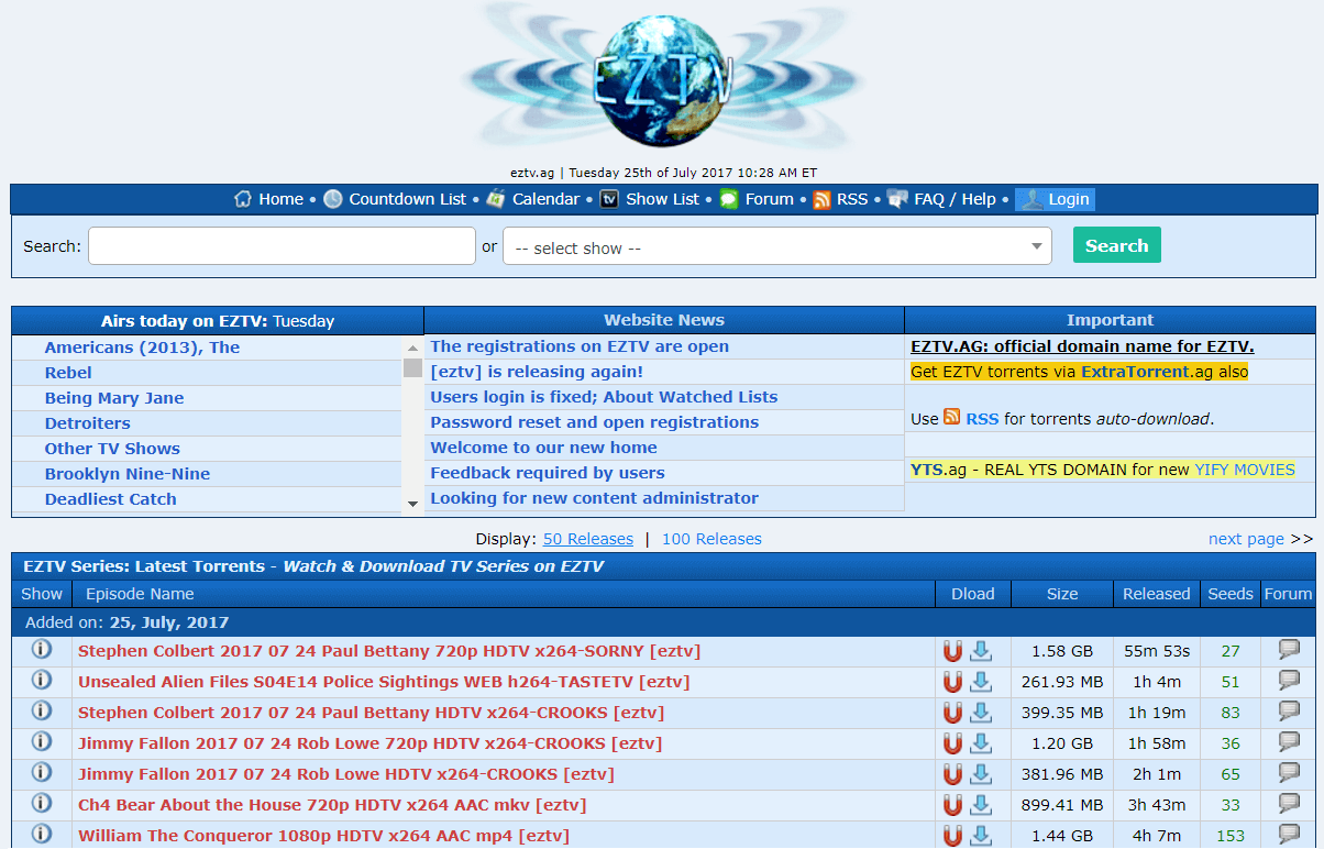 EZTV Proxy - Top 50 EZTV TV Torrent Proxy/Mirror Sites List