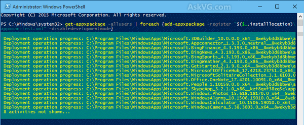 Reinstall All Apps in Windows 10