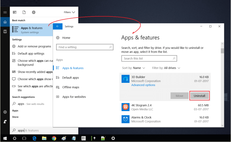Win 10 Apps n Features