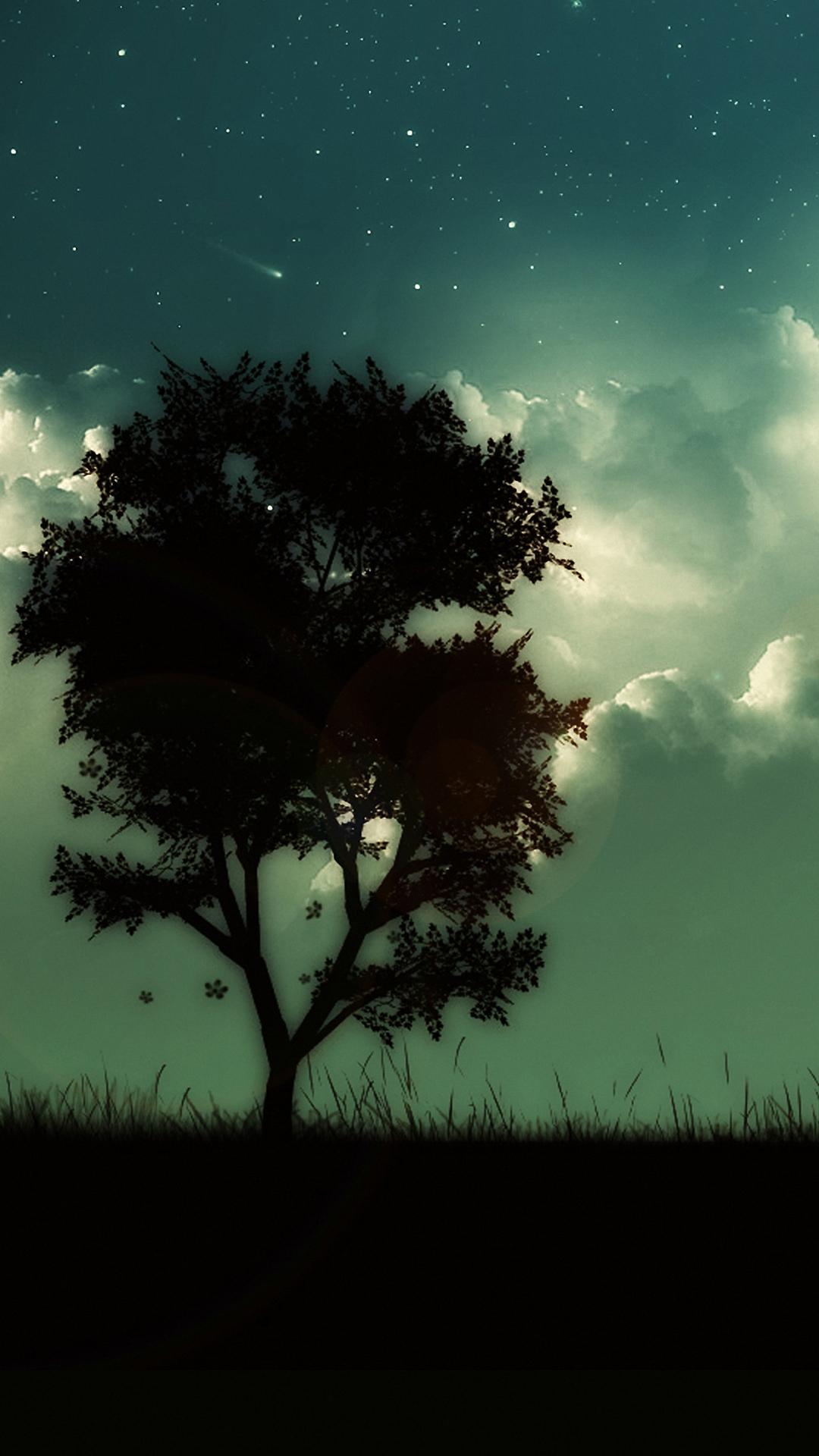 Cool Wallpaper 1080x1920 Dark Tree Sky 1080p Phone Hd