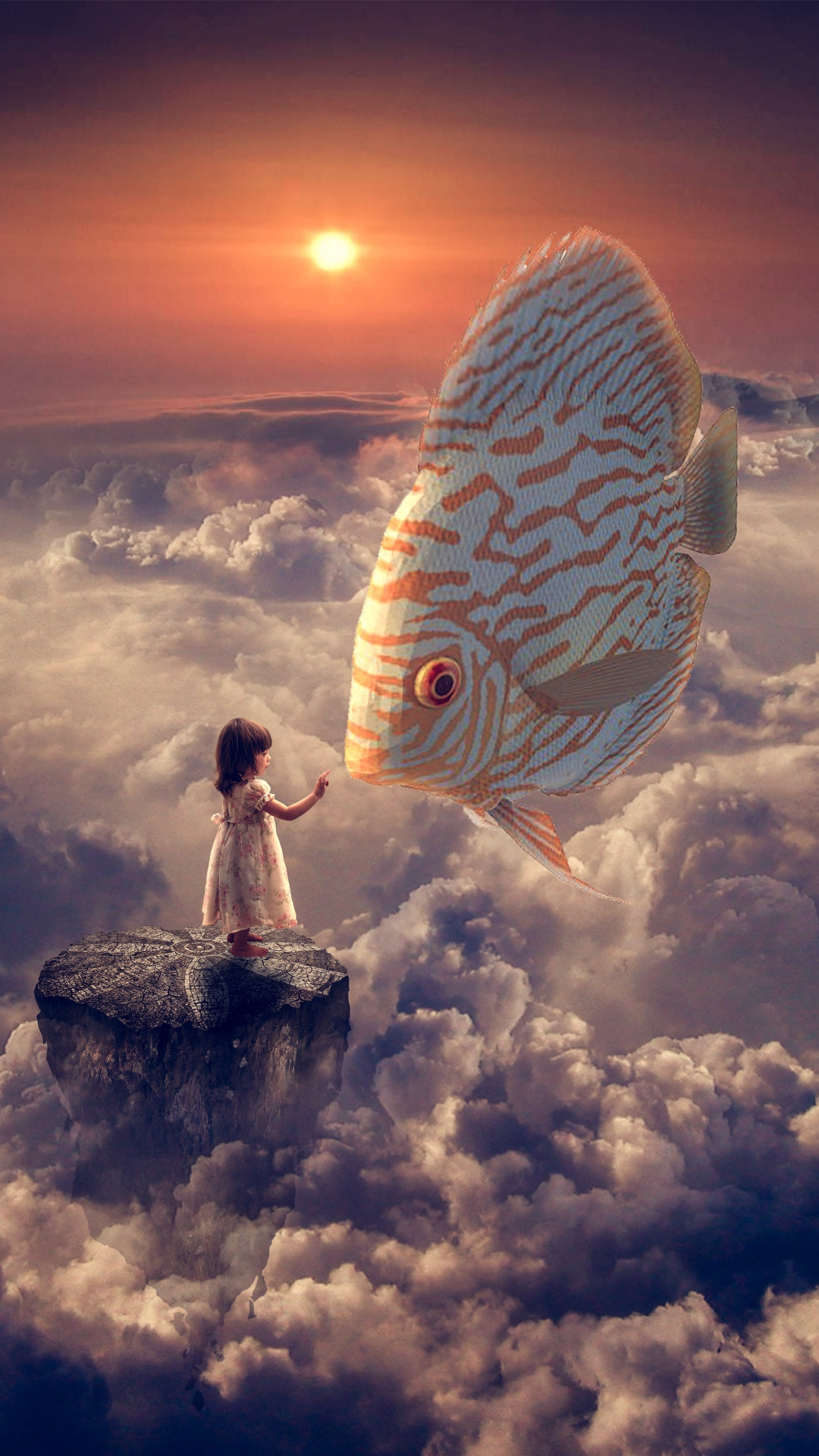 Fantasy Wallpapers Fantasy Girl Fish Clouds Sky Iphone 8