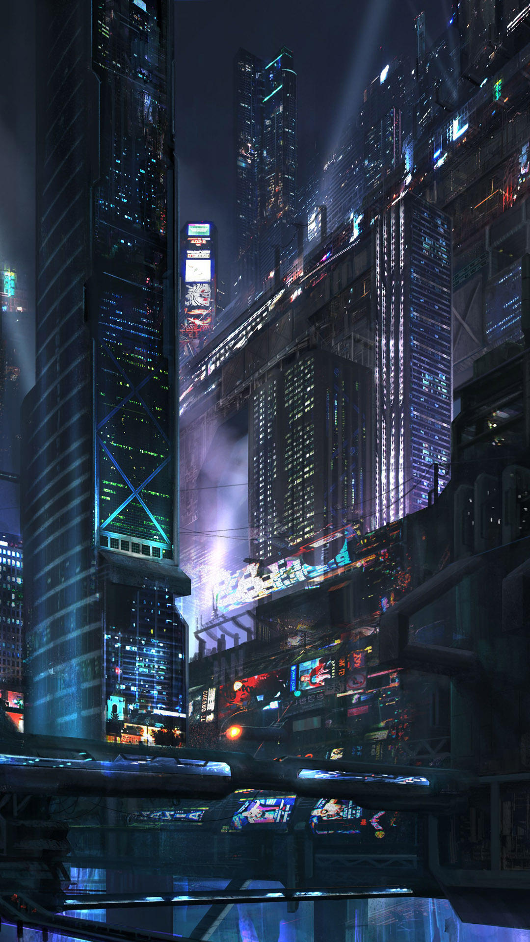 Night Wallpaper Futuristic City At Night Fantasy Mobile