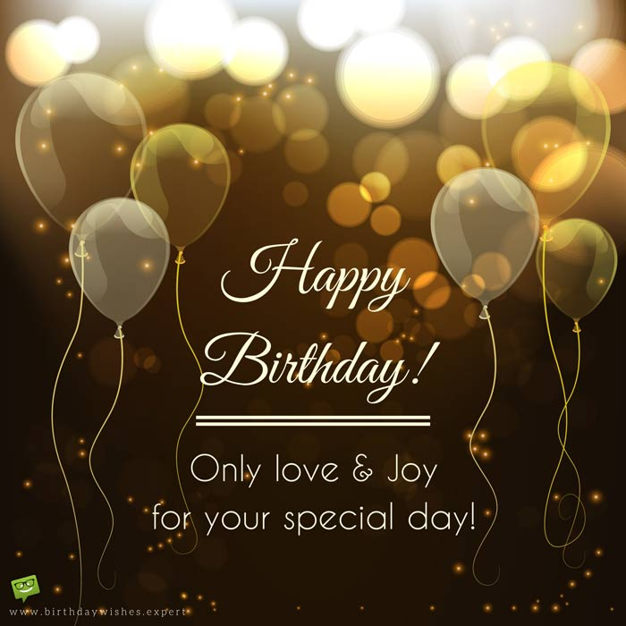 Birthday Wish For A Friend On Image With Golden Balloons And Stardust 2
