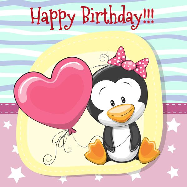 Cute Cartoon Penguin Girl With Balloon