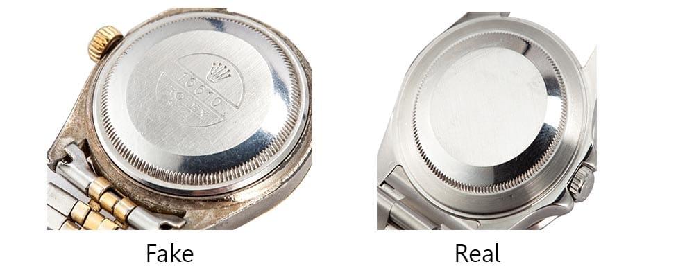 Real vs Fake Rolex Caseback