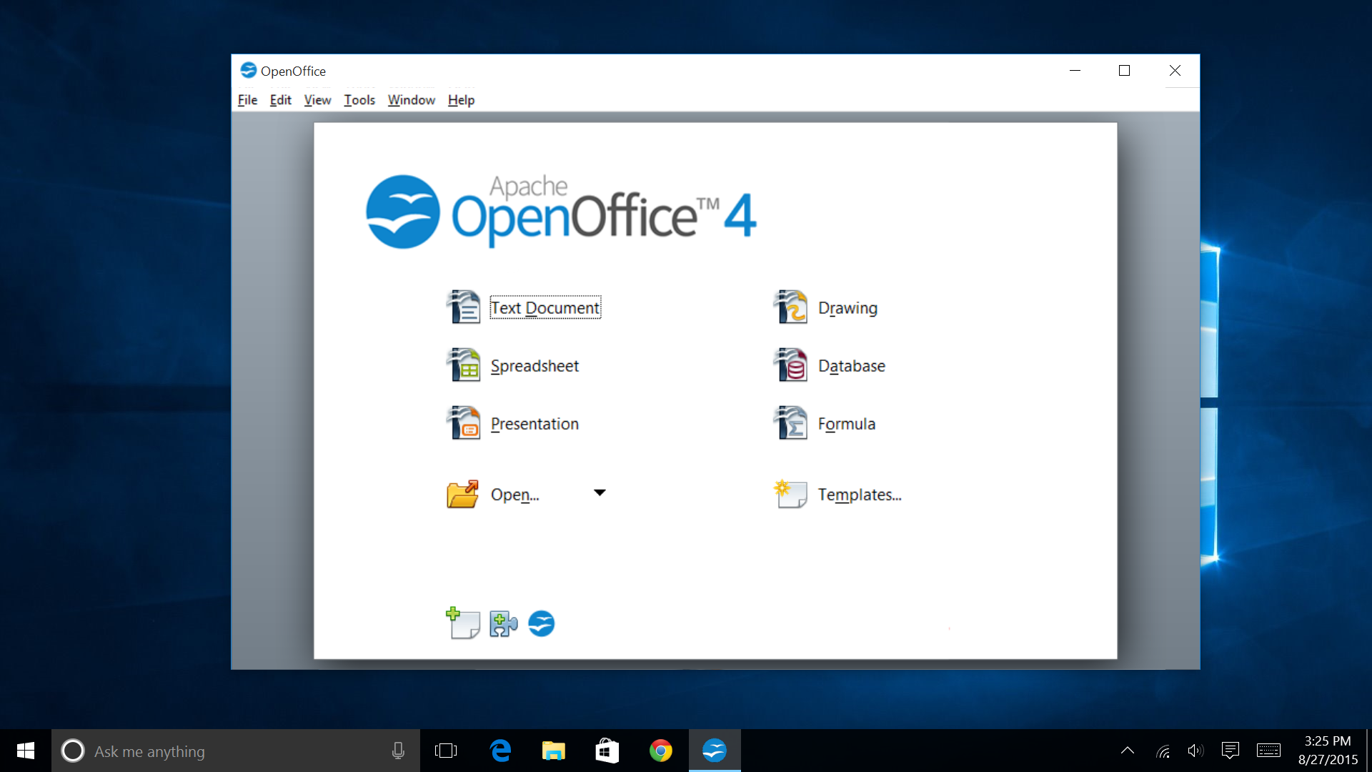 Open Office Windows 10