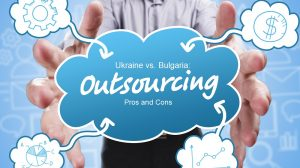Business, TecAhnology, Internet and marketing. Young businessman thinking about: Outsourcing